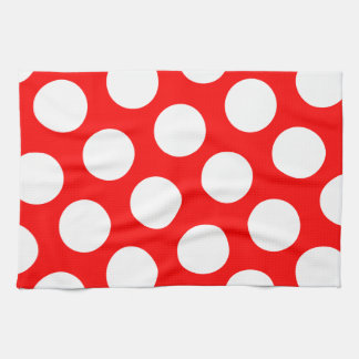 Big Red and White Polka Dots Hand Towels