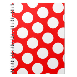 Big Red and White Polka Dots Spiral Notebook