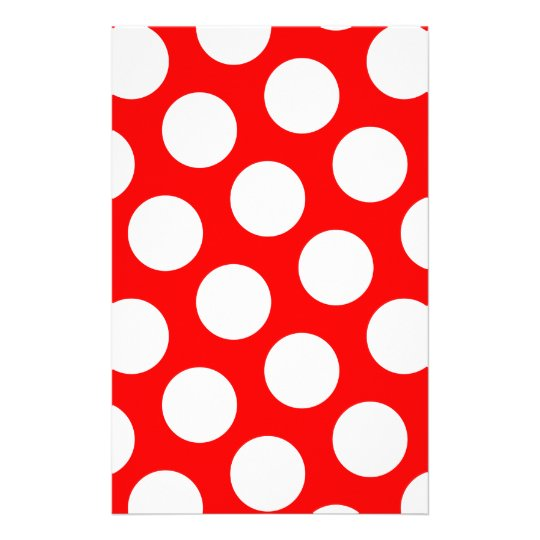Big Red and White Polka Dots Stationery