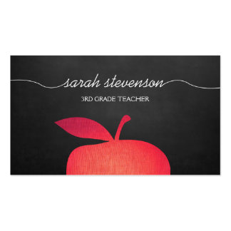 Big Red Apple Chalkboard School Teacher Double-Sided Standard Business Cards (Pack Of 100)