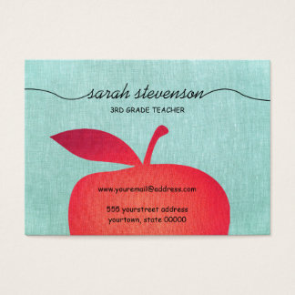 Big Red Apple Chalkboard School Teacher Linen Look Business Card