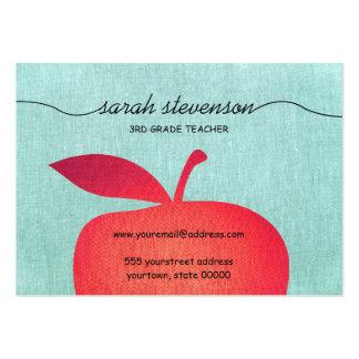 Big Red Apple Chalkboard School Teacher Linen Look Large Business Cards (Pack Of 100)