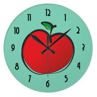 Big Red Apple Drawing Large Clock