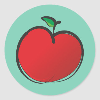 Big Red Apple Drawing on a Pale Green Background Classic Round Sticker