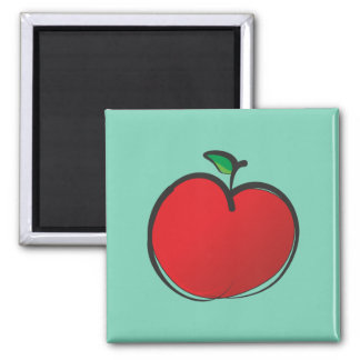 Big Red Apple Drawing on a Pale Green Background Magnet