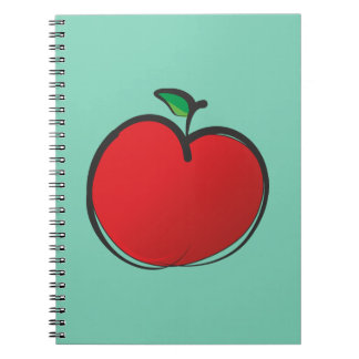 Big Red Apple Drawing on a Pale Green Background Notebook