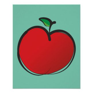 Big Red Apple Drawing Poster