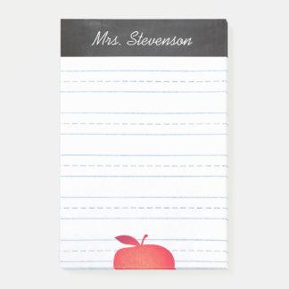 Big Red Apple Grade School Teacher Lined Post-it Notes