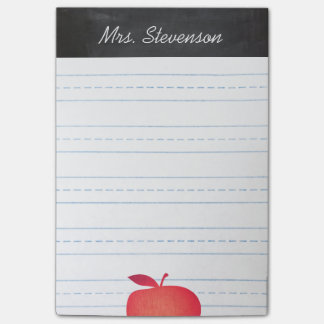 Big Red Apple Grade School Teacher Lined Post-it Notes