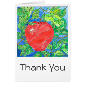 Big Red Apple Hand Painted Watercolor Thank You Card