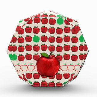 Big Red Apple on Apple Design with Red and Green A Acrylic Award
