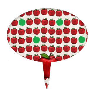 Big Red Apple on Apple Design with Red and Green A Cake Topper