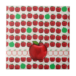 Big Red Apple on Apple Design with Red and Green A Ceramic Tile