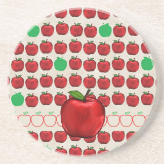 Big Red Apple on Apple Design with Red and Green A Coaster