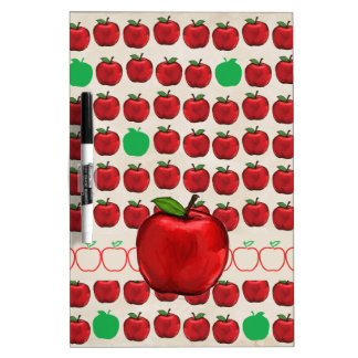 Big Red Apple on Apple Design with Red and Green A Dry Erase Board