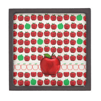 Big Red Apple on Apple Design with Red and Green A Jewelry Box