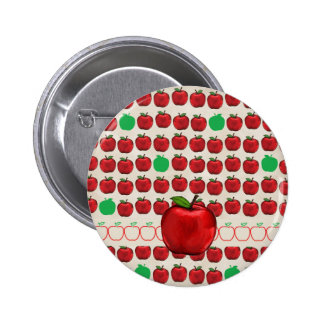 Big Red Apple on Apple Design with Red and Green A Pinback Button