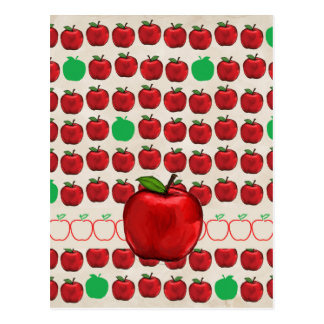 Big Red Apple on Apple Design with Red and Green A Postcard