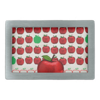 Big Red Apple on Apple Design with Red and Green A Rectangular Belt Buckle