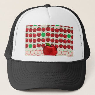 Big Red Apple on Apple Design with Red and Green A Trucker Hat