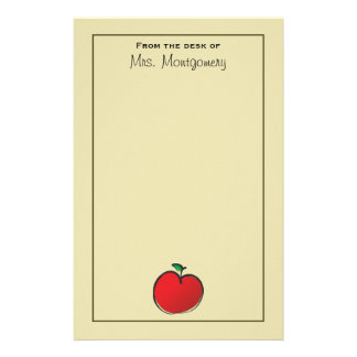 Big Red Apple Personalized Stationery