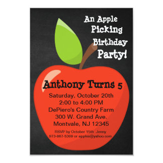 Big Red Apple Picking Birthday Party Card