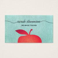 Big Red Apple School Teacher Education Business Card