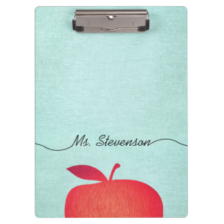 Big Red Apple School Teacher Education Clipboard