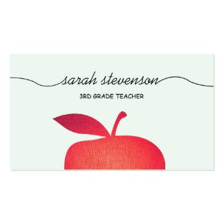 Big Red Apple School Teacher Light Aqua Blue Business Cards