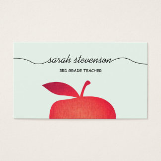 Big Red Apple School Teacher Light Aqua Blue Business Card