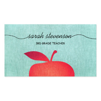 Big Red Apple School Teacher Linen Look Double-Sided Standard Business Cards (Pack Of 100)