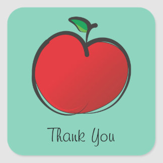 Big Red Apple Thank You Square Sticker