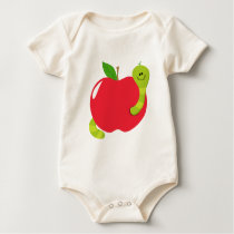 Big ,Red Apple With Worm Apparel Baby Bodysuit