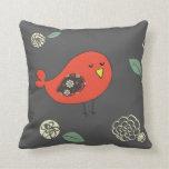 Big Red Birdie and Little Decorative Birdies Pillow
