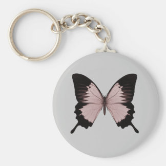 Big Red & Black Butterfly Basic Round Button Keychain