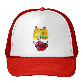 Big Red Bow and Ginger Cat - Sumi-e Hat