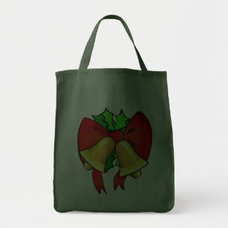 Big Red Bow Two Gold Bells Festive Holiday Green Bag