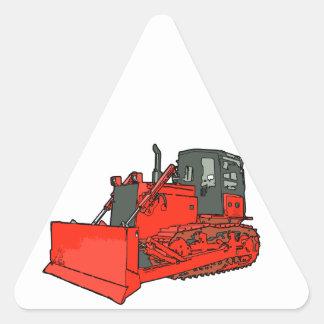 Big Red Bulldozer Triangle Sticker