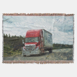 Big Red Cargo Truck Highway Driving Art Design Throw Blanket