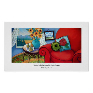 Big Red Cozy Chair Poster