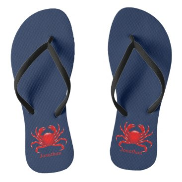 Beach Themed Big Red Crab Back to School Dorm Essentials Flip Flops