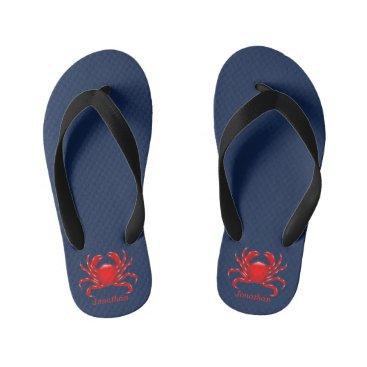 Beach Themed Big Red Crab Back to School Dorm Essentials Kids Kid's Flip Flops