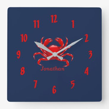 Beach Themed Big Red Crab Back to School Dorm Essentials Square Wall Clock