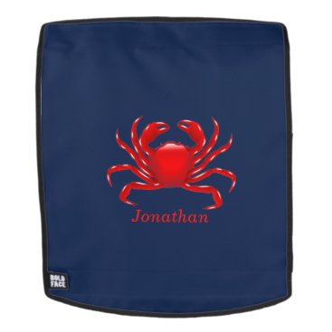 Beach Themed Big Red Crab on Blue Background Back to School Backpack