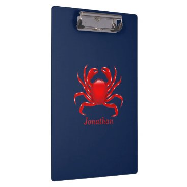Beach Themed Big Red Crab on Blue Background Back to School Clipboard