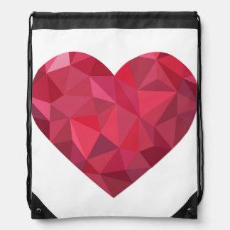 Big Red Diamond Heart Drawstring Bag