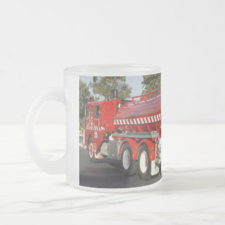 Big Red Fire Engine, Frosted Glass Coffee Mug