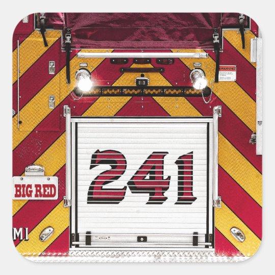 Big Red Fire Truck Square Sticker