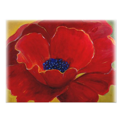 Big Red Floral Poster Photo Print