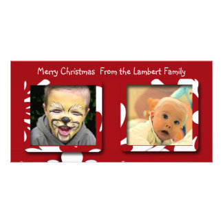 Big Red Flowers Christmas Photo Card